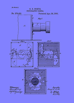 Vintage Camera Drawing - Antique Camera Patent 1883 by Mountain Dreams
