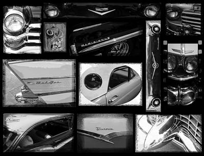 Photograph - Antique Car Collage Black And White by Roxy Hurtubise