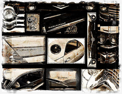 Photograph - Antique Car Collage Sepia by Roxy Hurtubise