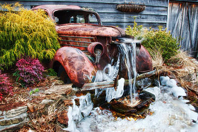 Antique Car Water Fountain Columbus Georgia Art Print