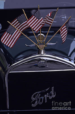 Photograph - Antique Car With American Flags by Jim Corwin