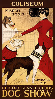Purebred Drawing - Antique Chicago Dog Show Poster by Mountain Dreams