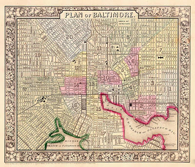 Baltimore Drawing - Antique City Map Of Baltimore 1864 by Mountain Dreams