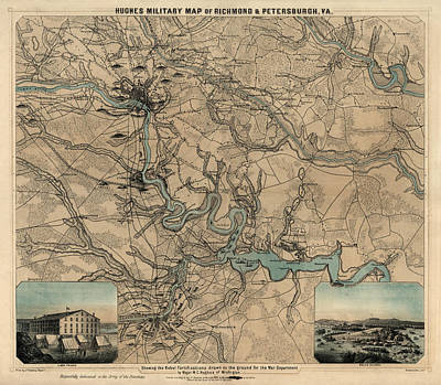 Drawing - Antique Civil War Map Of Richmond And Petersburg Virginia By William C. Hughes - Circa 1864 by Blue Monocle