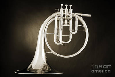 Photograph - Antique Classic French Horn Music Instrument 3021.01 by M K Miller