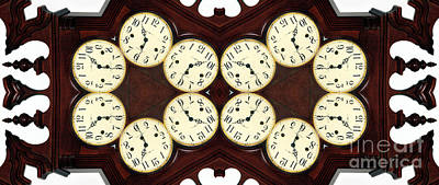 Photograph - Antique Clock Abstract . Horizontal by Renee Trenholm