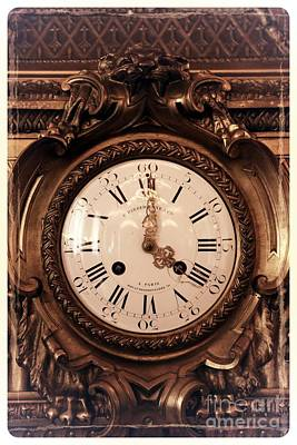 Photograph - Antique Clock In Sepia by Carol Groenen