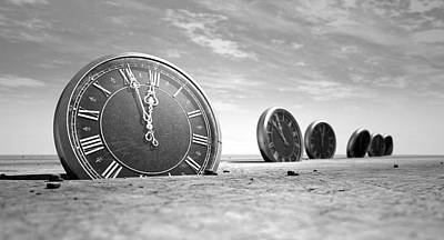 Antique Clocks In The Desert Sand Art Print by Allan Swart