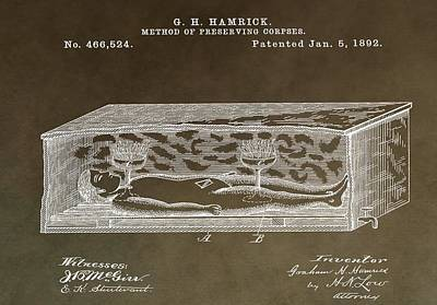 Grave Mixed Media - Antique Coffin Patent by Dan Sproul
