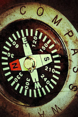 Photograph - Antique Compass by Bill Owen