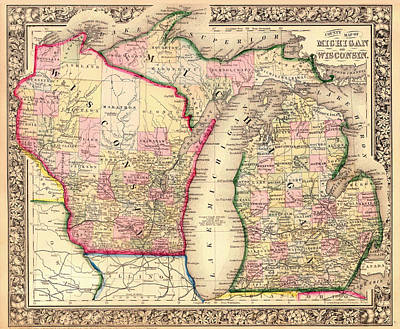Michigan Drawing - Antique County Map Of Michigan And Wisconsin by Mountain Dreams