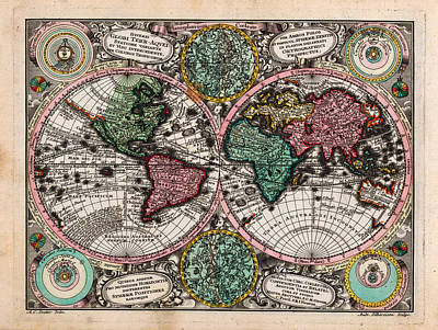 Engraving Painting - Antique Decorative Celestial Hand Colored World Map by Celestial Images