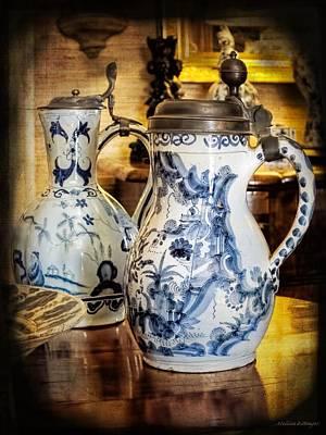 Blue And White Porcelain Photograph - Antique Delftware Tankards Still Life by Melissa Bittinger