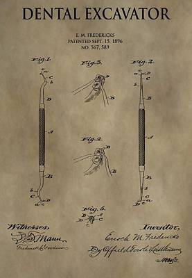 Mirror Drawing - Antique Dental Excavator Patent by Dan Sproul