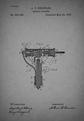 1880s Drawing - Antique Dental Plugger Patent 1887 by Mountain Dreams