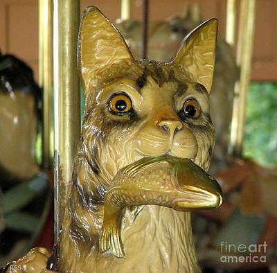 Cat Woodcarving Photograph - Antique Dentzel Menagerie Carousel Cat With Fish In Rochester New York by Rose Santuci-Sofranko