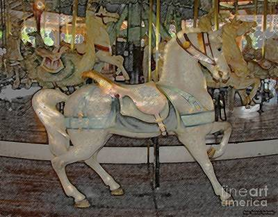 Merry Go Round Photograph - Antique Dentzel Menagerie Carousel Horse Colored Pencil Effect by Rose Santuci-Sofranko
