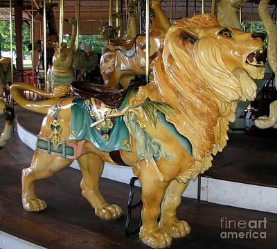 Animals Photograph - Antique Dentzel Menagerie Carousel Lion by Rose Santuci-Sofranko