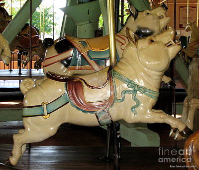 Merry Go Round Photograph - Antique Dentzel Menagerie Carousel Pigs by Rose Santuci-Sofranko