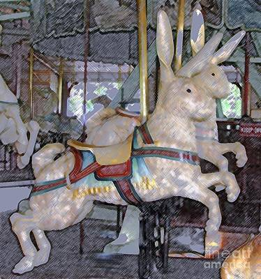 Rochester Ny Photograph - Antique Dentzel Menagerie Carousel Rabbits In Rochester New York With Colored Pencil Effect  by Rose Santuci-Sofranko