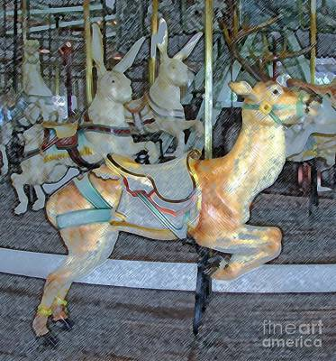 Rochester New York Photograph - Antique Dentzel Menagerie Carousel Reindeer In Rochester New York With Colored Pencil Effect  by Rose Santuci-Sofranko