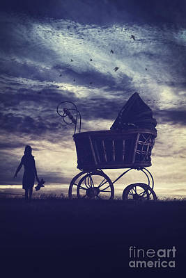 Photograph - Antique Doll Carriage On A Hill At Sunset by Sandra Cunningham