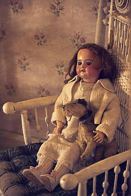 Puppy Digital Art - Antique Doll With A Puppy by Maria Angelica Maira