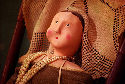 Paper Mache Photograph - Antique Doll With Pearls by Terry Fleckney