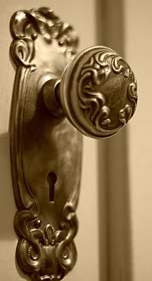 Photograph - Antique Doorknob - Sepia by Marilyn Wilson
