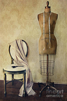 Antique Dress Form And Chair With Vintage Feeling Art Print by Sandra Cunningham