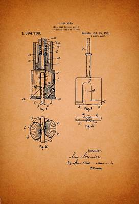 Antique Drill Head For Oil Wells Patent Art Print by Mountain Dreams