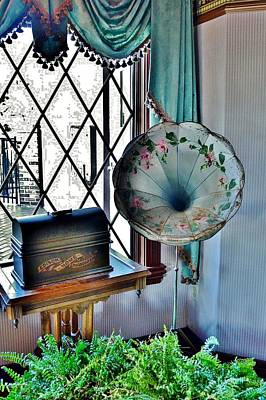 Photograph - Antique Edison Phonograph In The Boardwalk Plaza Lobby - Rehoboth Beach Delaware by Kim Bemis