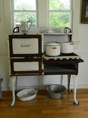 Photograph - Antique Estate Stove With Cookware by George Pedro