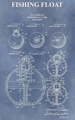 Angling Mixed Media - Antique Fishing Bobber Patent by Dan Sproul