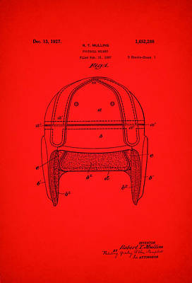 Football Art Drawing - Antique Football Helmet Patent 1927 by Mountain Dreams