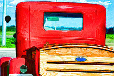 Photograph - Red Antique Pick Up Truck Art 1 by Lesa Fine