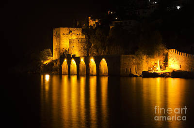 Beach Nobody Photograph - Antique Fortress In Alanya At Night by Jelena Jovanovic