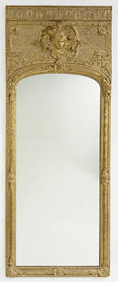Mirror Drawing - Antique Frame With Modern Mirror Glass Unknown Paris by Litz Collection
