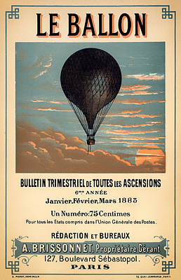 Vintage Antiques Sign Drawing - Antique French Aeronautical Journal Cover by Mountain Dreams