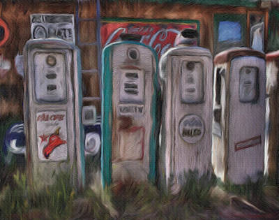 Painting - Antique Fuel Pumps by Dennis Buckman