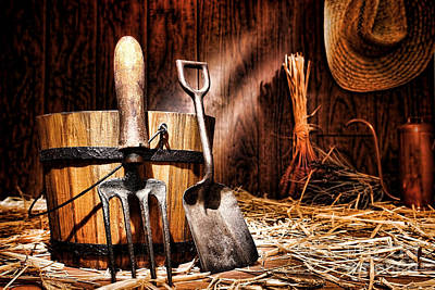 Antique Gardening Tools Art Print by Olivier Le Queinec
