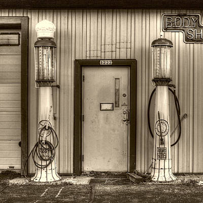 Photograph - Antique Gas Pumps by Roger Passman