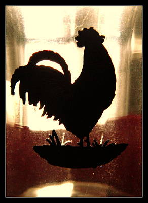 Antique Glass Chicken Silhouette Art Print