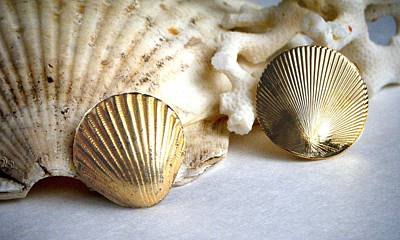 Gold Earrings Photograph - Antique Gold Sea Shell Style Earrings 2 by Bruce Iorio