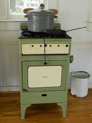 Photograph - Antique Green Stove And Pressure Cooker by George Pedro