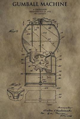 Quarters Mixed Media - Antique Gumball Machine Patent by Dan Sproul