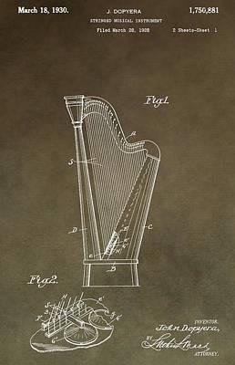 Resonator Digital Art - Antique Harp Patent by Dan Sproul