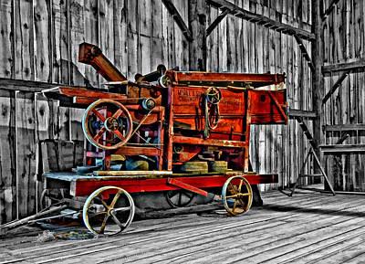Antique Hay Baler Selective Color Art Print by Steve Harrington