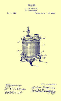 1890s Drawing - Antique Heating Stove Patent 1896 by Mountain Dreams