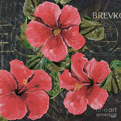 Postcards Painting - Antique Hibiscus Black 3 by Debbie DeWitt